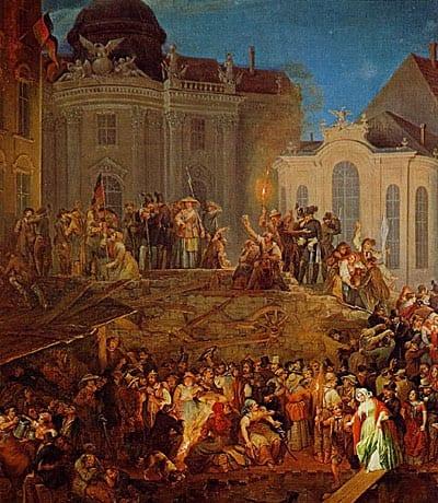 Gemälde: Revolution 1848, Barrikade auf dem Michaelerplatz in Wien